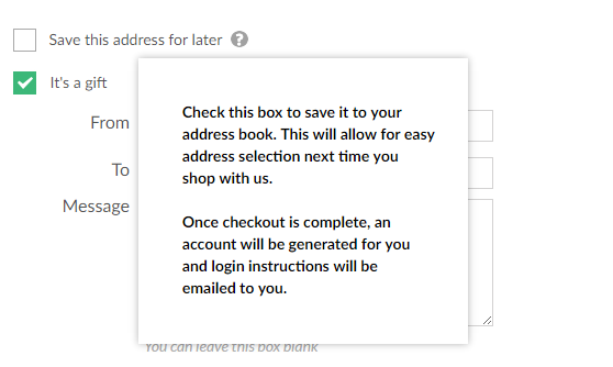 Shipping Checkout Save Address Tooltip